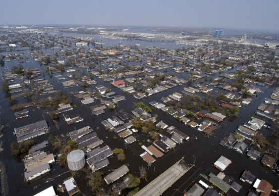 New Orleans four days after Hurricane Katrina in 2005 ... climate change is bringing more rainfall to urban areas and leaving less water in rural and farming areas. Photo: US Navy